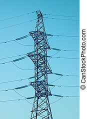 Power line tower in the sky background