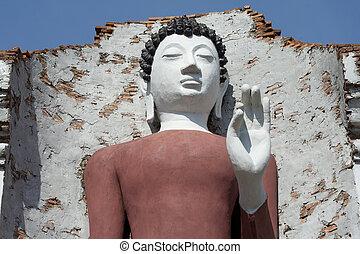 Beautiful white buddha in Thailand