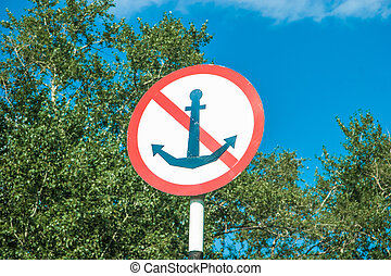 Marine NO anchor sign