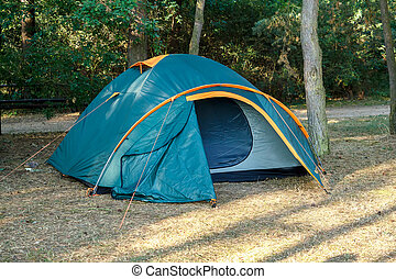 Camping Tents at Campground during Daytime in Woods -...