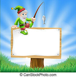 Garden gnome or elf sign - Illustration of a happy garden...