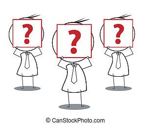question face businessman group