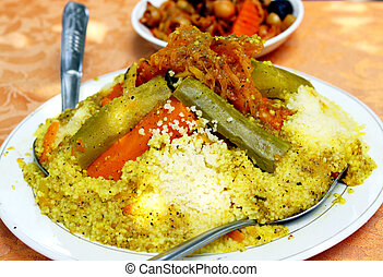 A plate of couscous (traditional moroccan dish)