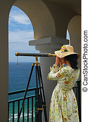 Girl, Telescope, Arc - Girl in fancy dress and hat looking...