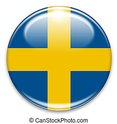 Sweden - swedish flag button isolated on white