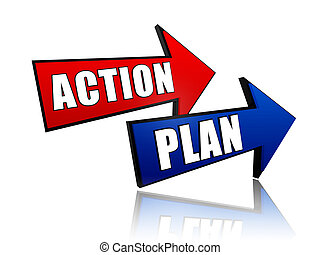 action and plan in arrows - action and plan - words in 3d...