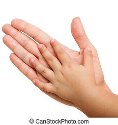 Baby and mothers hands isolated. - Close up of mother and...
