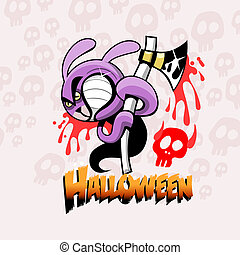 halloween card with rabbit and ax - illustration with text...