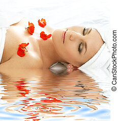 red petals spa with water #3 - beautiful lady with red...