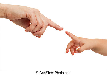 Mother and babies hands pointing with finger - Close up of...