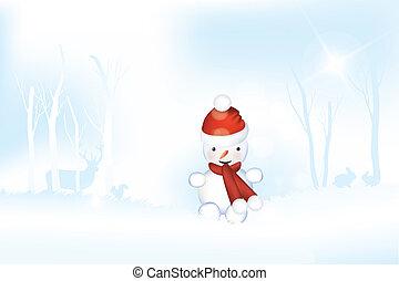 Snowman in frosty winter landscape