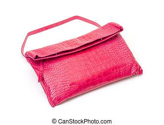 Fashionable pink leather handbag