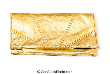 Luxury gold leather clutch bag