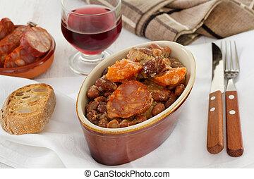 linguiças, carne, vermelho, feijões, vidro,...
