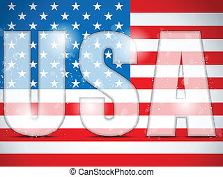 USA Glass Letters with Flag Background