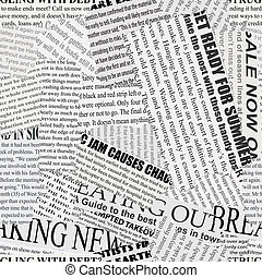 Newsprint Background - Black and white repeating torn...