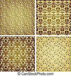 vector seamless golden patterns, oriental style, can be used...