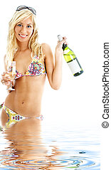 beach party girl in water - beach party girl in colorful...