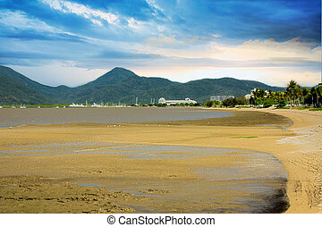 Cairns mud flats - view of Cairns tropical north Queensland...