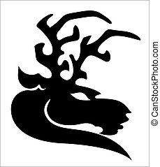 Reindeer Silhouette Tattoo - Creative Abstract Conceptual...