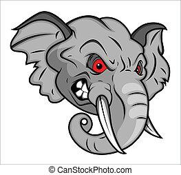 enojado, elefante, Ilustración, mascota