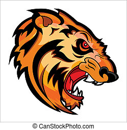 Angry Tiger Face Mascot Tattoo - Conceptual Creative Design...