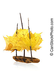 Sail ship - Toy sail ship from pine bark, twigs and maple...