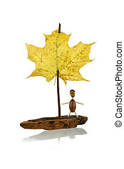 Sailboat - Toy sail boat from pine bark, twig and maple leaf...
