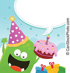 Monster Birthday Message - Cute little monster with birthday...