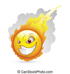 Burning Smiley Expression - Creative Abstract Conceptual...