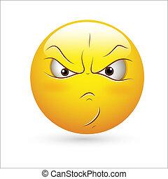 Aggressive Smiley Icon Vector - Creative Abstract Conceptual...