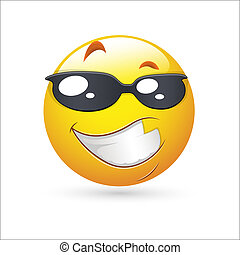 Handsome Smiley Expression Icon - Creative Conceptual Design...