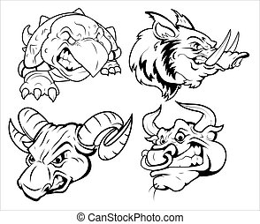 Angry Animal Tattoo Mascots Vectors - Creative Abstract...
