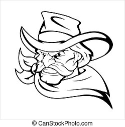 Cowboy Mascot Vector Character - Creative Abstract...