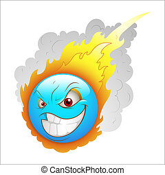 Asteroid Smiley Icon Vector - Creative Conceptual Design Art...