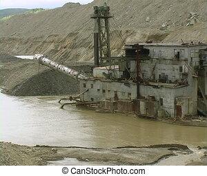 Dredge. - Dredge barge on  river.