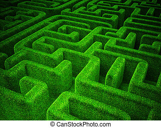 green maze - green grass maze background. horizontal 3d...