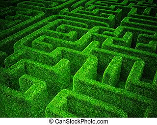 green maze - green grass maze background. horizontal 3d...
