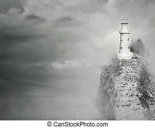 Fantasy lighthouse - Beautiful fantasy background of a...