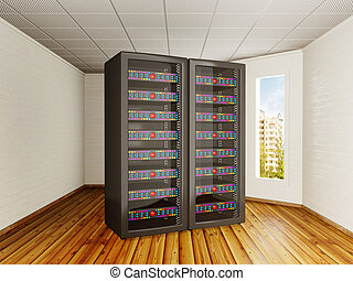 server room - two black server towers in a room