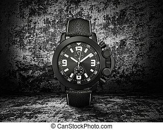 watch - luxury watch isolated on a dark  background