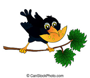 Raven on a branch with cheese in its beak, with isolation on...