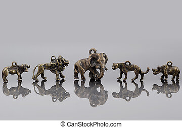 Group of African animals beads.