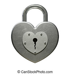 Heart Shaped Padlock Front - A front view of a locked heart...