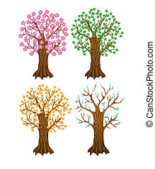 set of autumn,winter, summer and spring tree, with isolation...