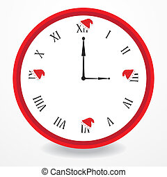 vector illustration of a clock with christmas design