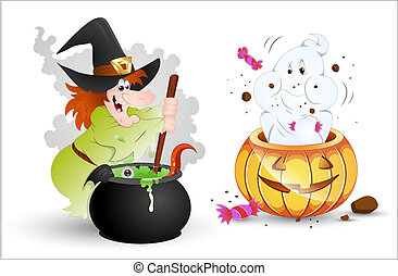 Halloween Characters Witch n Ghost - Creative Design Art of...