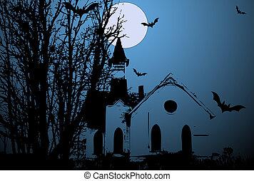 Creepy Old Church Vector - Creative Abstract Conceptual...