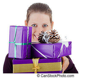 attractiv woman with many presents - attractive young woman...