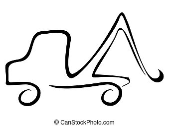 Help car - Illustration of tow track isolated on white...